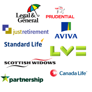 Pension Annuity Providers - Legal and General, Prundential, Just Retirement, Aviva, LVE, Scottish Widows, Partnership, Canada Life, Standard Life, Pension Schemes